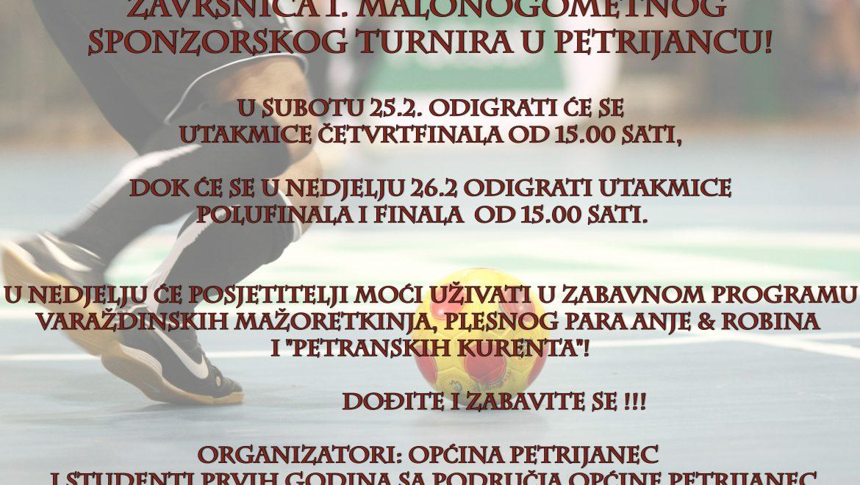 Završnica malonogometnog turnira u sportskoj dvorani u Petrijancu