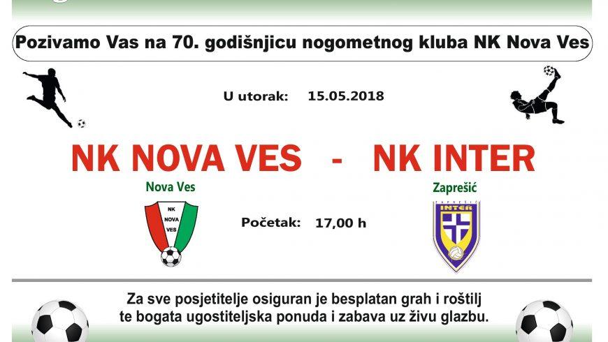 Nk Nova Ves – Nk Inter Zaprešić za 70-u godišnjicu kluba iz Nove Vesi