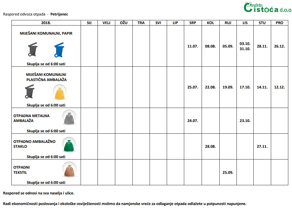 raspored odvoza otpada
