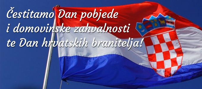 Čestitamo Dan pobjede i domovinske zahvalnosti, te Dan hrvatskih branitelja!