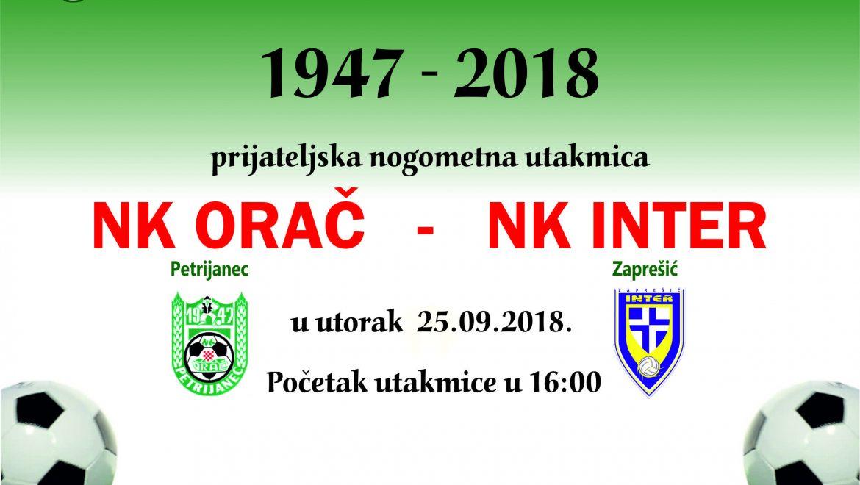 Nk Orač – Nk Inter Zaprešić prijateljska utakmica u utorak 25.09.2018.