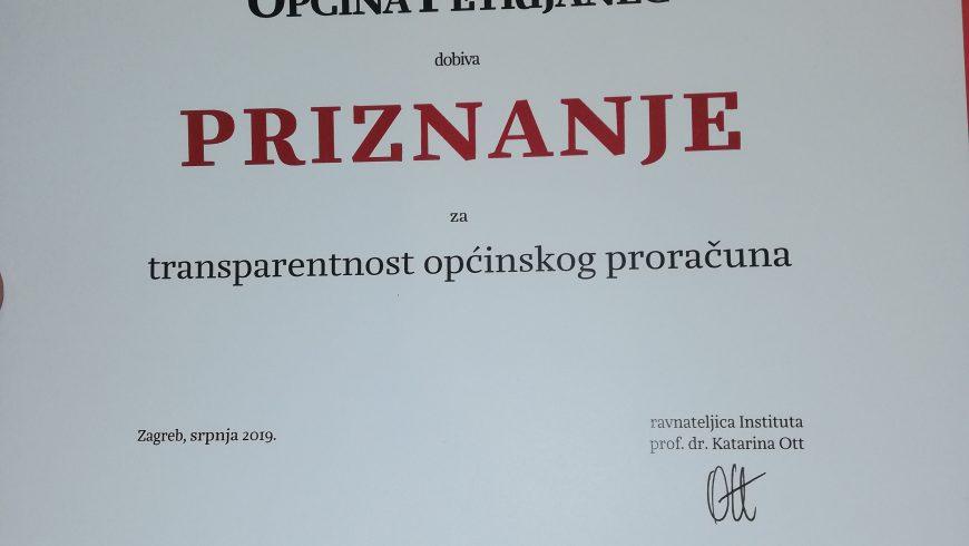 Općina Petrijanec jedna od najtransparentnijih u Republici Hrvatskoj!