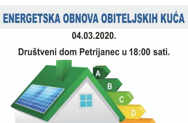 POZIV NA PREDAVANJE -ENERGETSKA OBNOVA OBITELJSKIH KUĆA 04.03.2020. (srijeda) U 18:00 sati